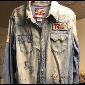 True Religion mens denim shirt size L slim